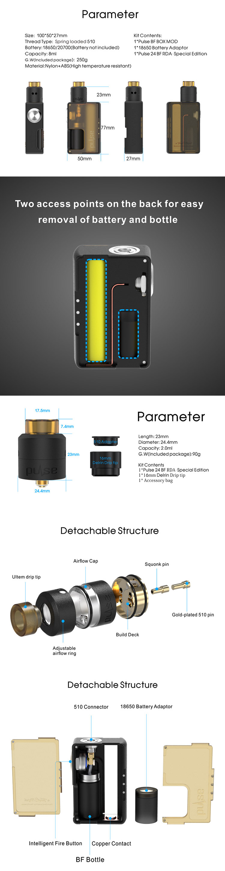 Vandy Vape Pulse BF Kit, Parameter
