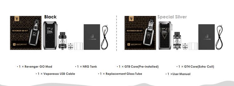 Vaporesso Revenger Go 220W TC Kit Packing List