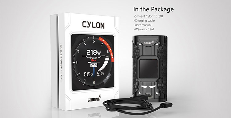 Smoant Cylon TC 218W Box Mod Packing List
