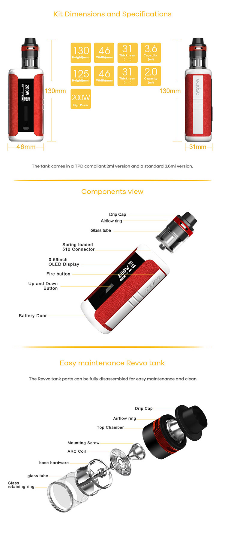 Aspire Speeder Revvo 200W Box Kit Parameter