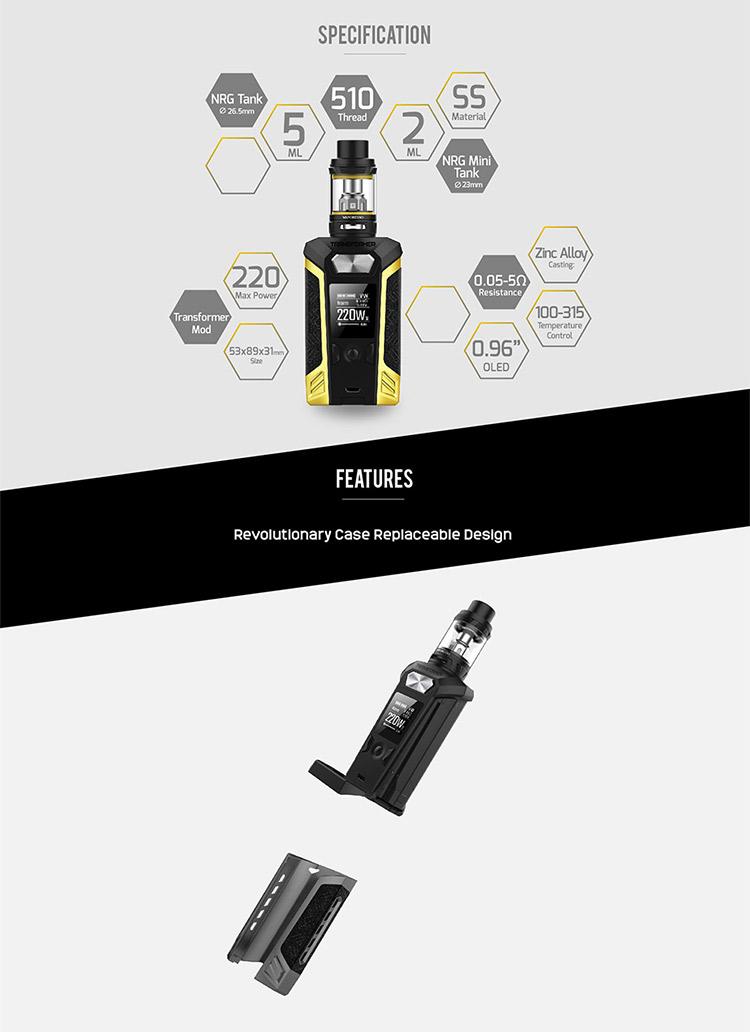 Vaporesso Transformer 220W TC Kit Mian Feature