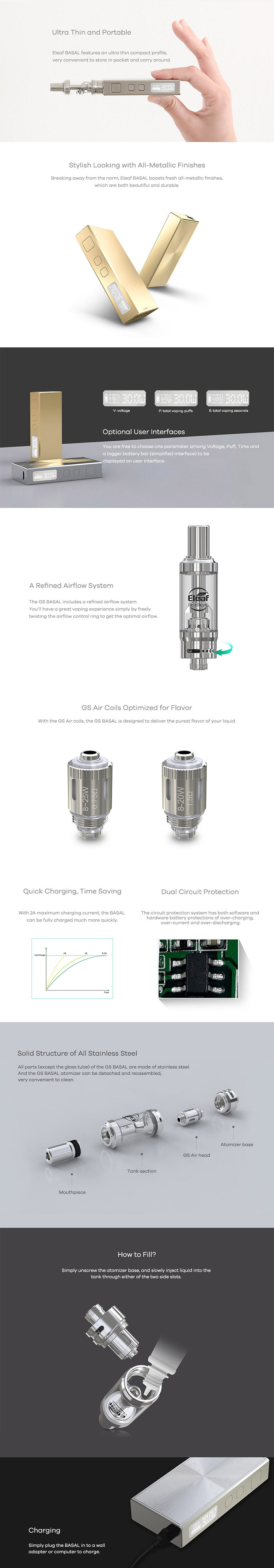 Eleaf Basal 30W Starter Kit Feature