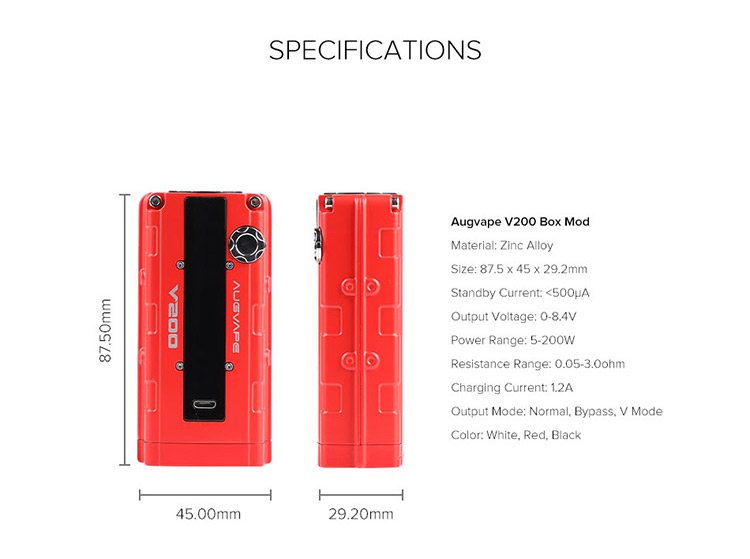Augvape V200 Box MOD Parameter