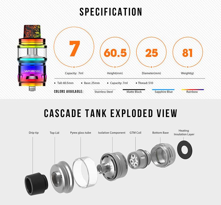 Vaporesso Cascade Sub Ohm Tank Parameter