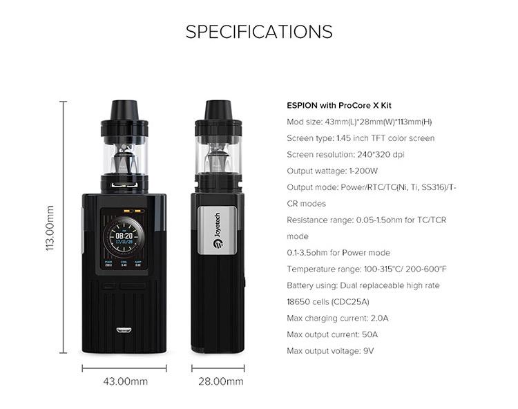 Joyetech Espion 200W TC Kit Parameter