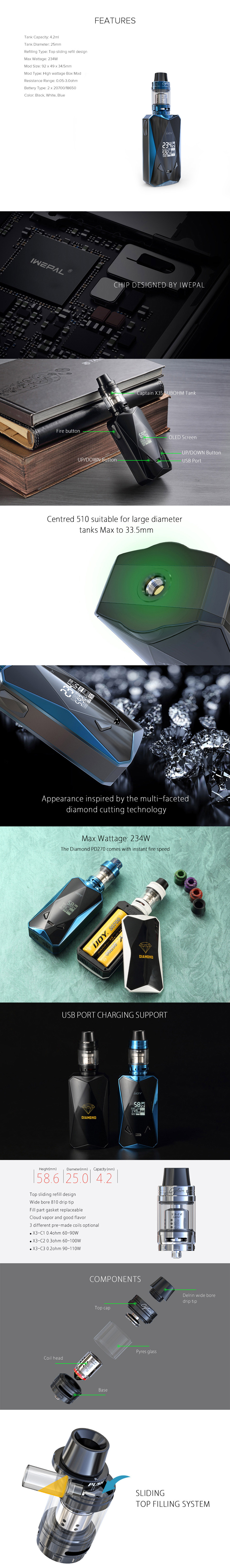 IJOY Diamond PD270 234W Kit Feature