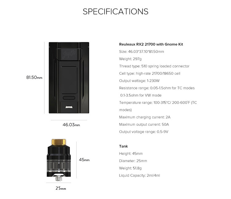 Wismec Reuleaux RX2 21700 230W Kit Parameter