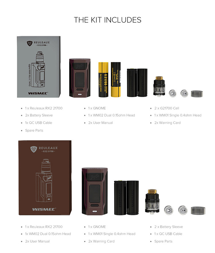 Wismec Reuleaux RX2 21700 230W Kit Packing List