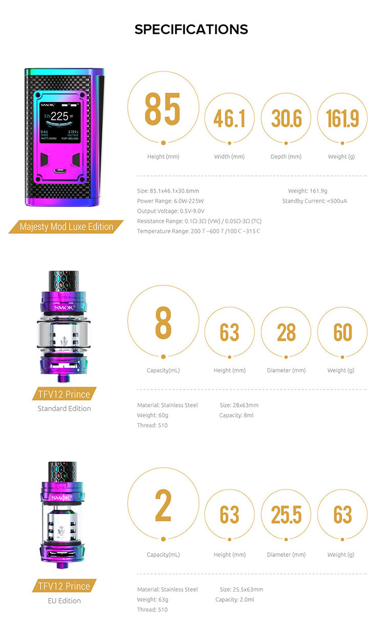 SMOK Majesty 230W TC Kit Parameter