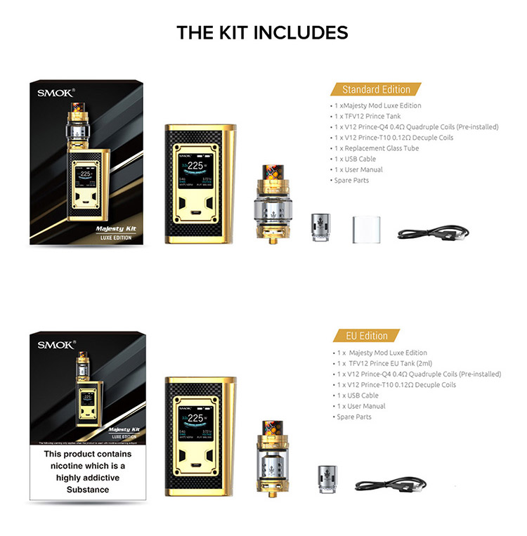 SMOK Majesty 230W TC Kit Packing List