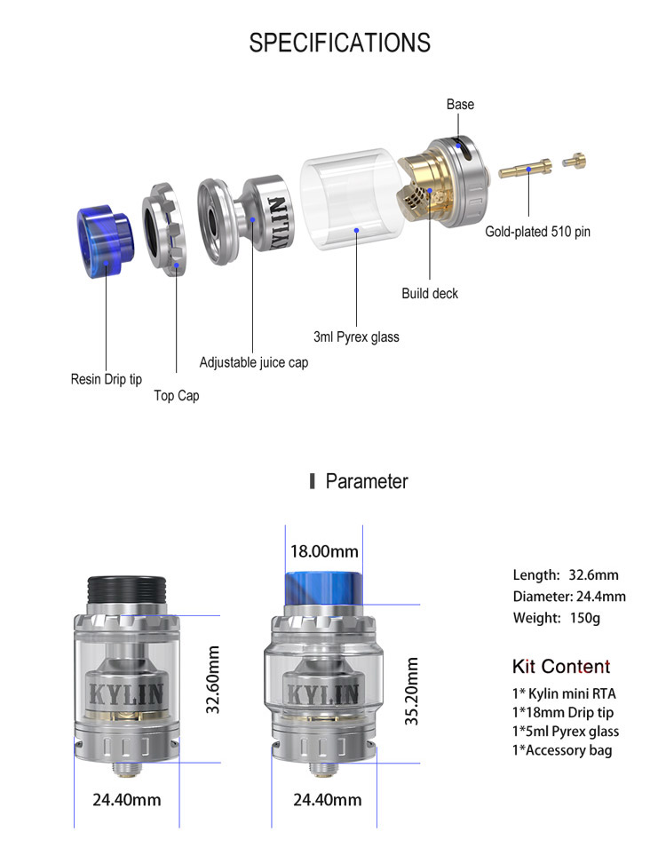 Vandy Vape Kylin Mini RTA Parameter