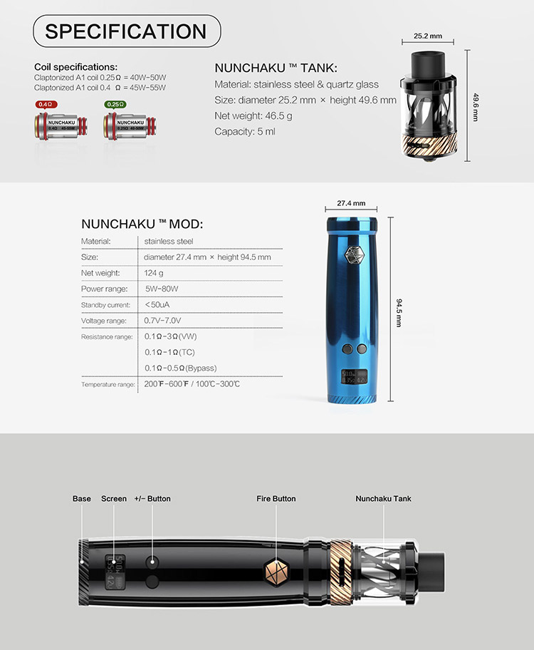 Uwell Nunchaku Tank 80W TC Vape Full Kit Parameter