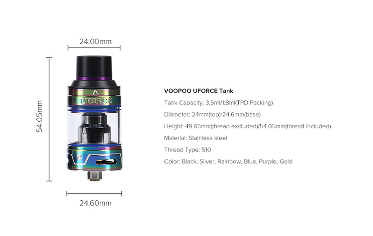 VooPoo UFORCE Tank Parameter