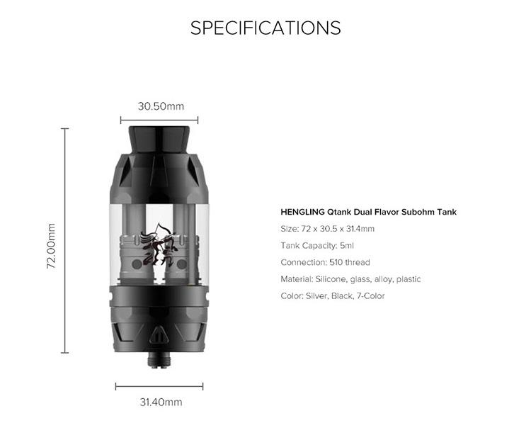 HENGLING Qtank Dual Flavor Subohm Tank Parameter