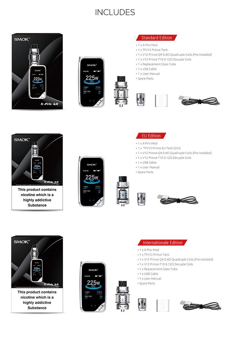 SMOK X-Priv Kit Packing List