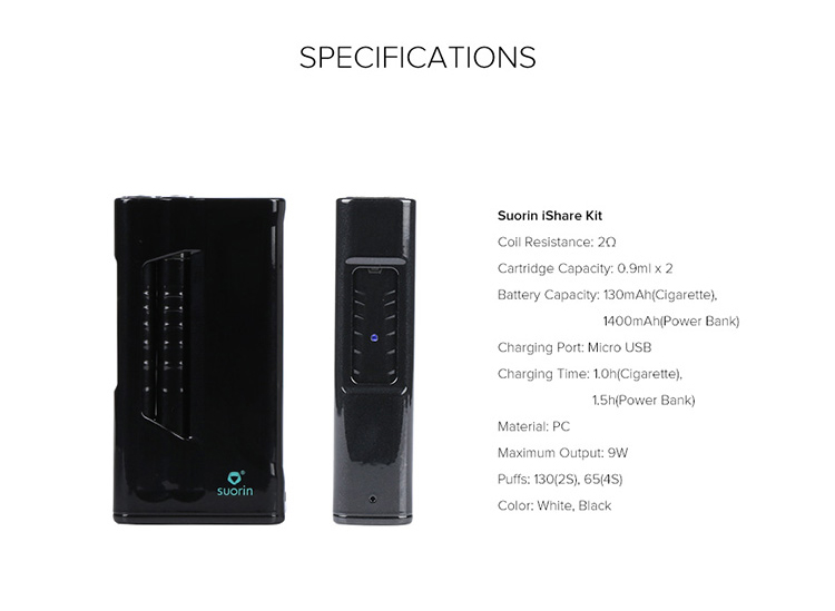 Suorin iShare Ultra Portable Full Kit with the Power Bank Parameter