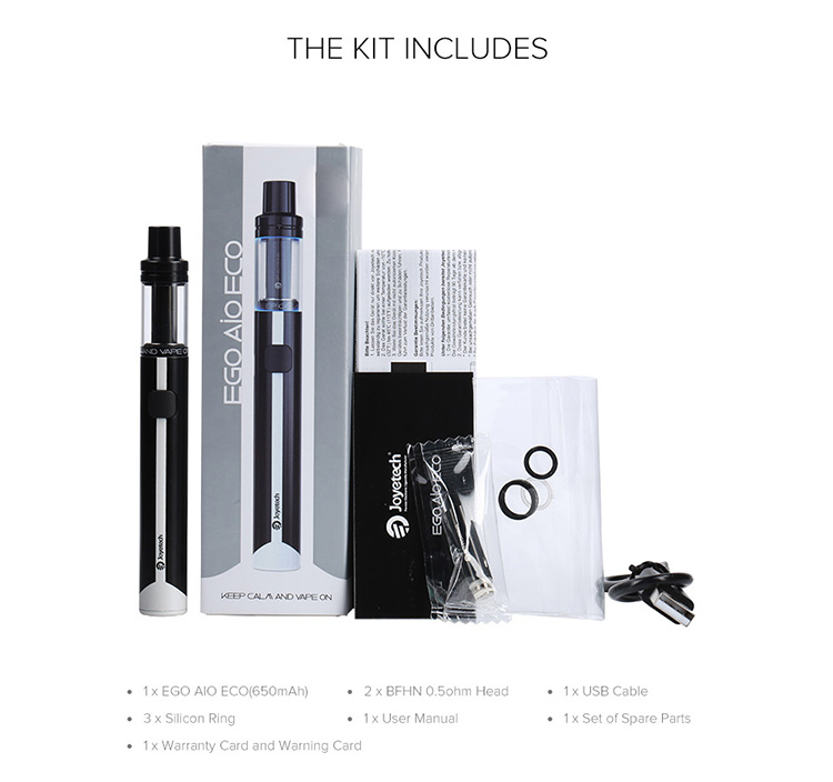 Joyetech EGO AIO ECO Quick Start Kit Packing List