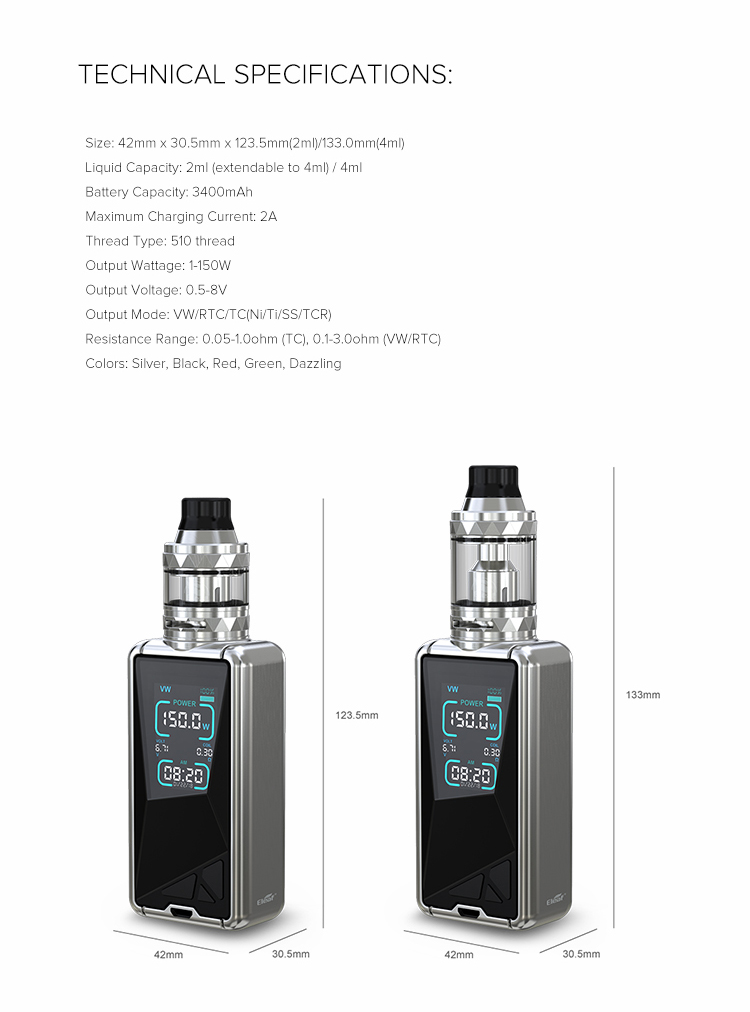Eleaf Tessera with ELLO TS Kit Parameter