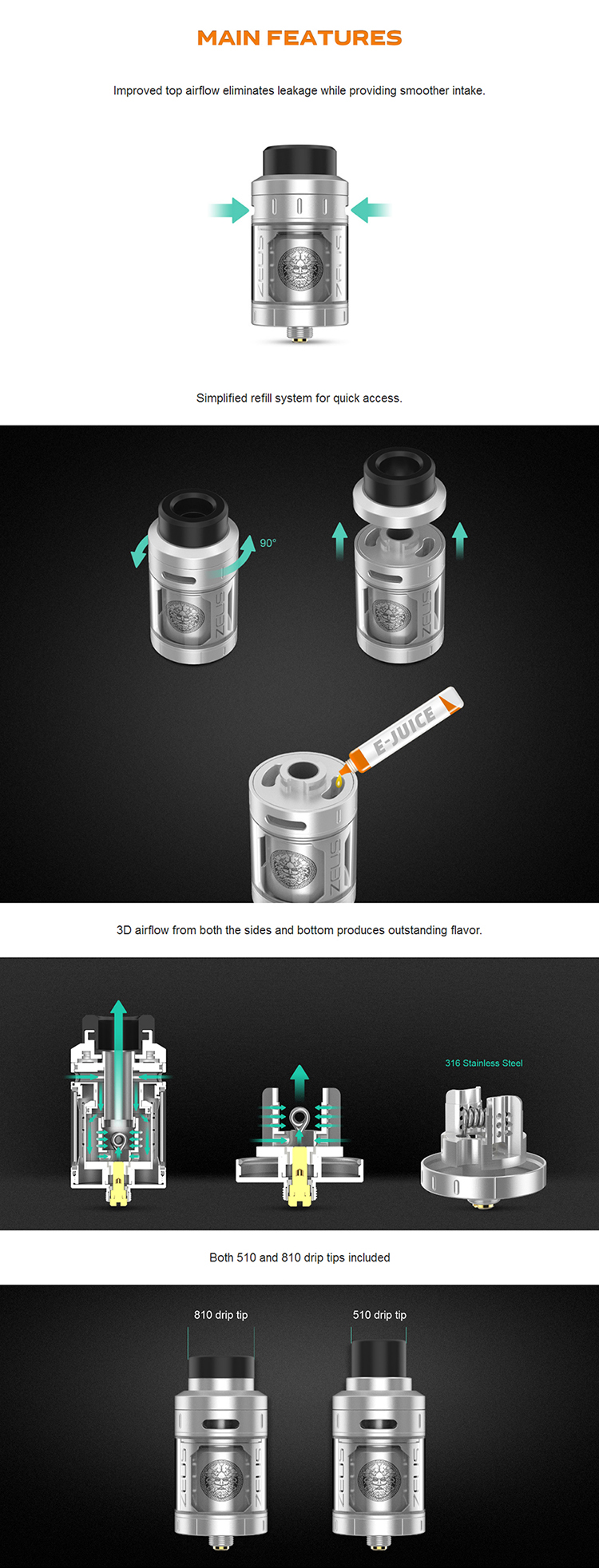 GeekVape Zeus RTA Feature