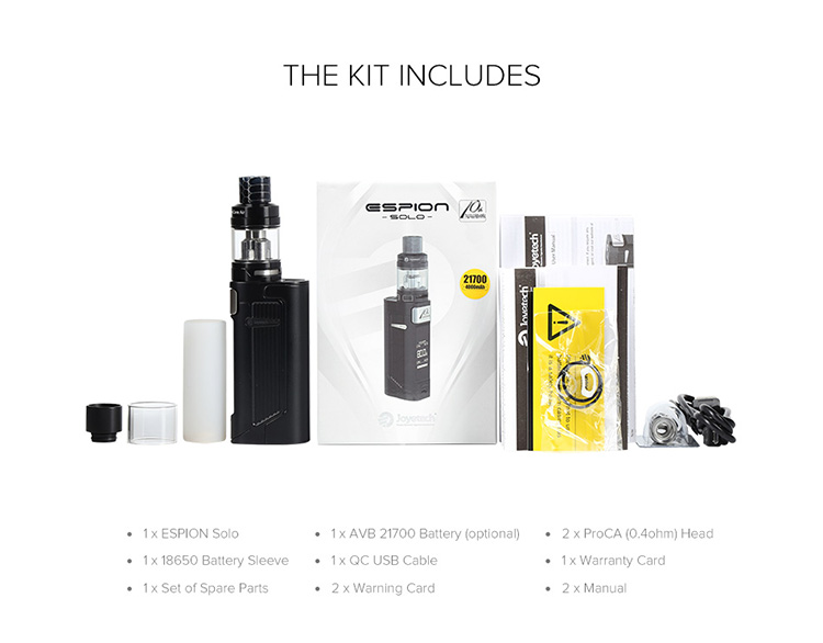 Joyetech Espion Solo Kit Packing List