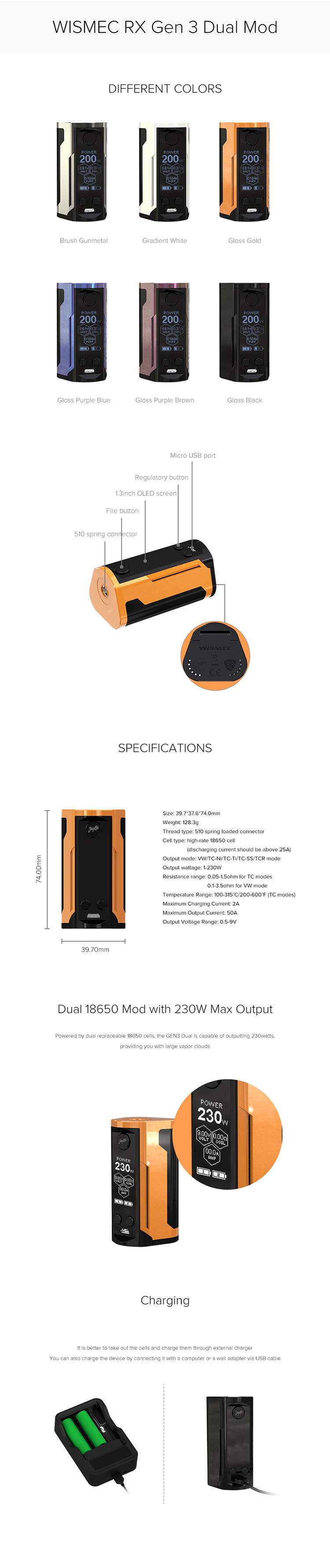 Wismec Reuleaux RX GEN3 Dual 230W Box Mod