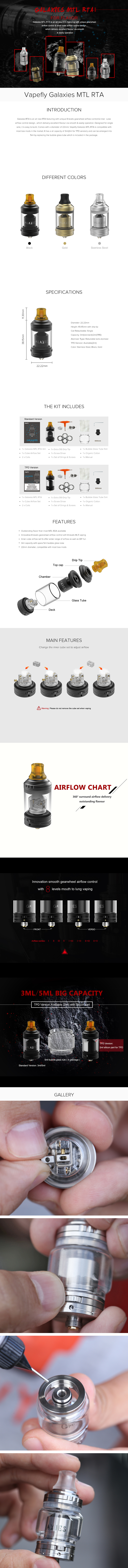 Vapefly Galaxies MTL RTA Tank Atomizer