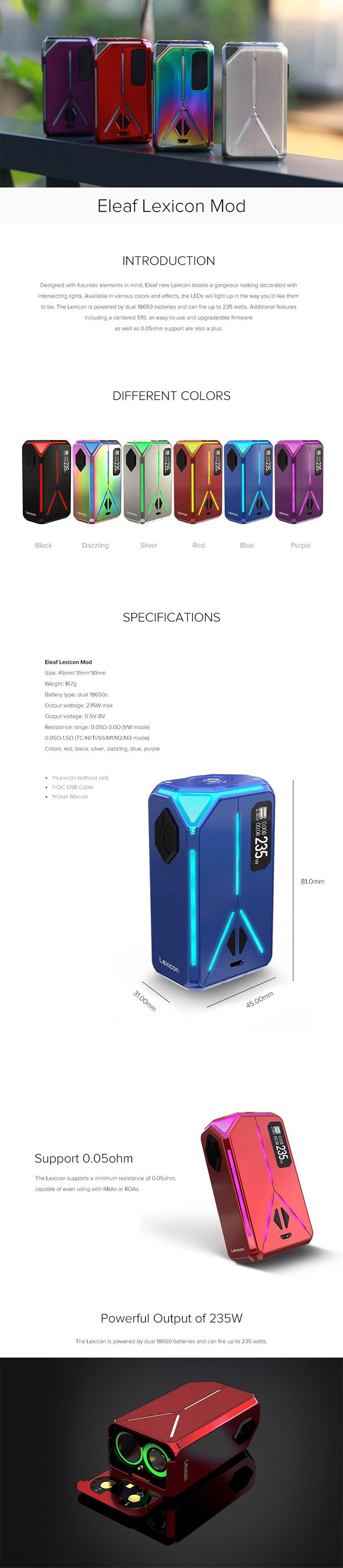 Eleaf Lexicon 235W Box Mod Elegomall