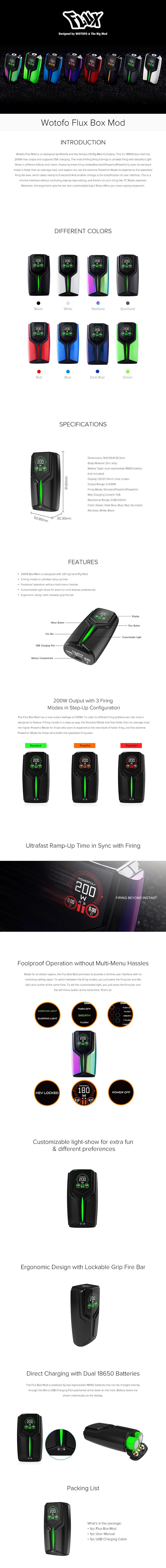 Wotofo Flux Box Mod 200W