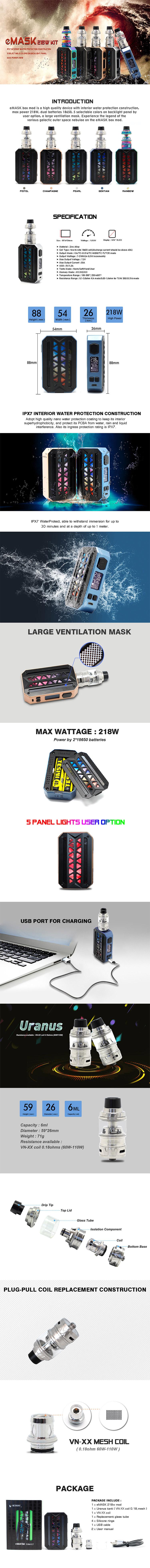 VZONE eMASK 218W Box Kit