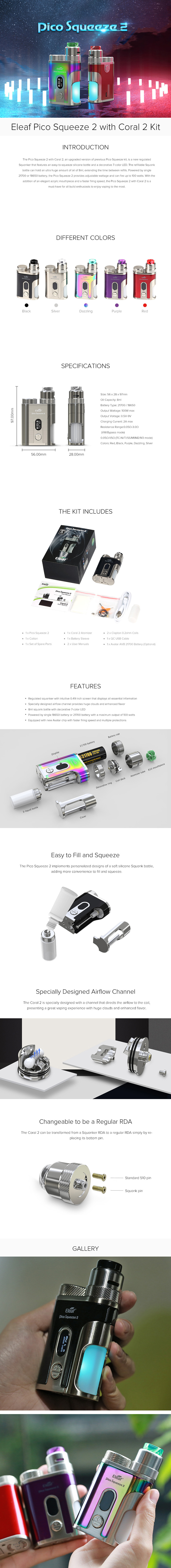Eleaf Pico Squeeze 2 Squonk Kit with Coral 2 RDA