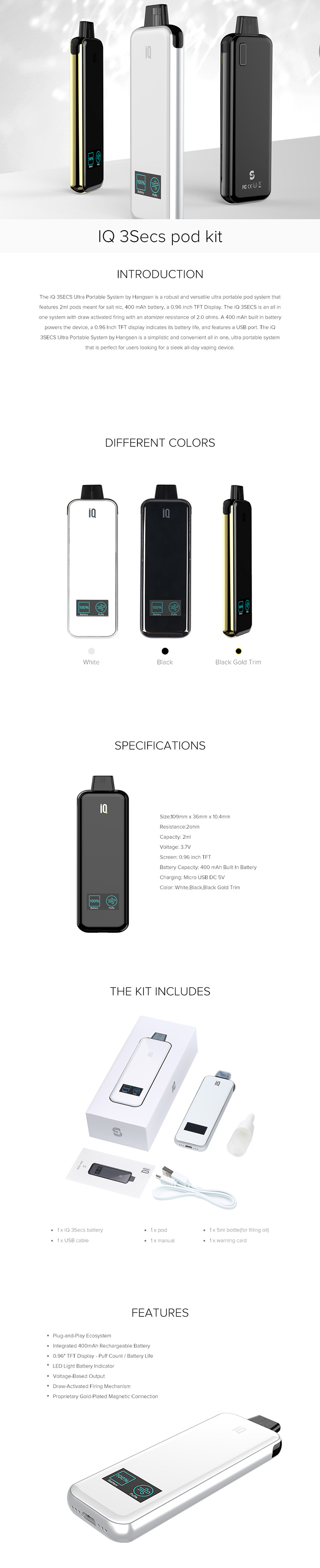 IQ 3Secs pod kit