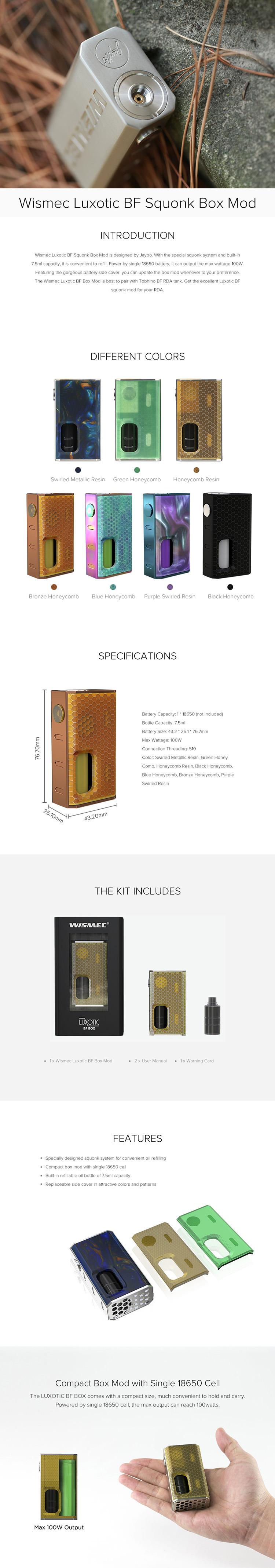 Wismec Luxotic BF Squonk Box Mod
