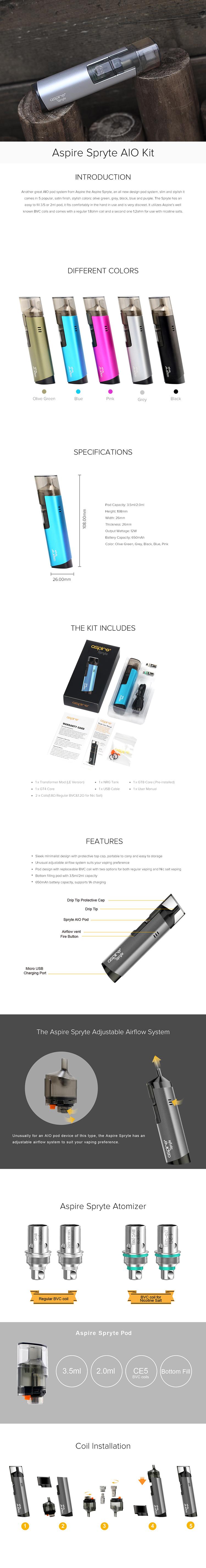 Aspire Spryte AIO Starter Kit - 650mah & 3.5/2.0ml