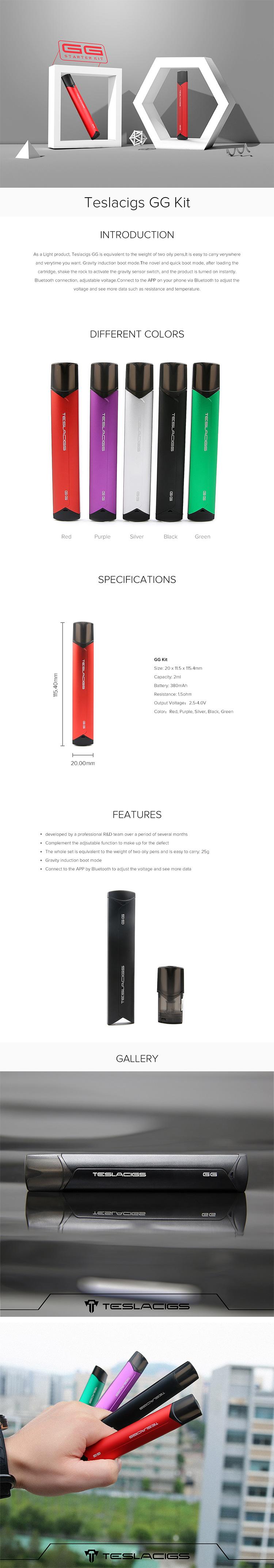 Teslacigs GG Bluetooth Smart Vping Pod Kit
