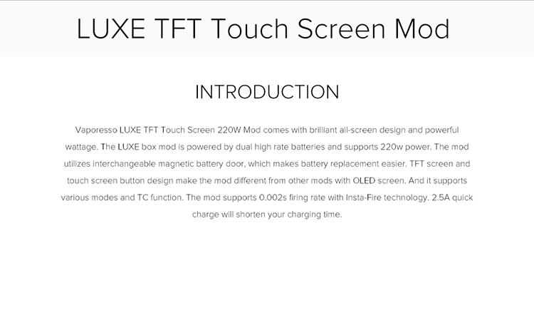 Vaporesso LUXE TFT Screen 220W Mod