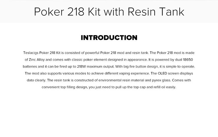 Teslacigs Poker 218 Kit mit Harztank