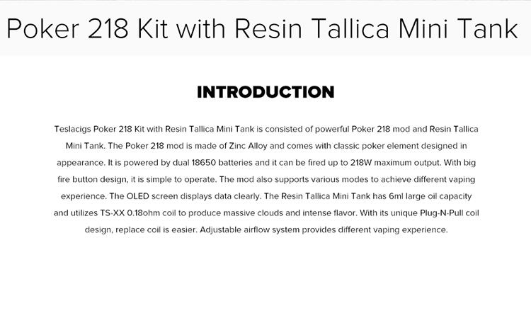 Kit Teslacigs Poker 218 com Mini Tanque de Resina Tallica