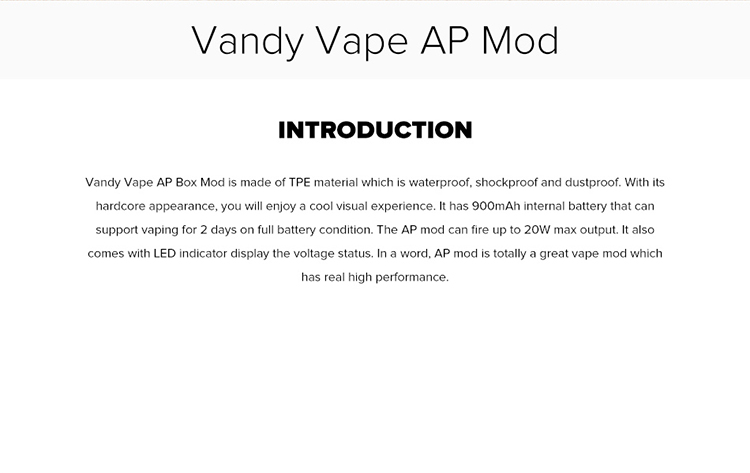 Vandy Vape AP Waterproof Box Mod Introduction