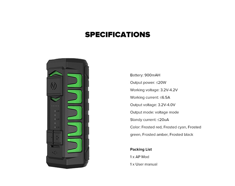 Vandy Vape AP Waterproof Box Mod Specifications