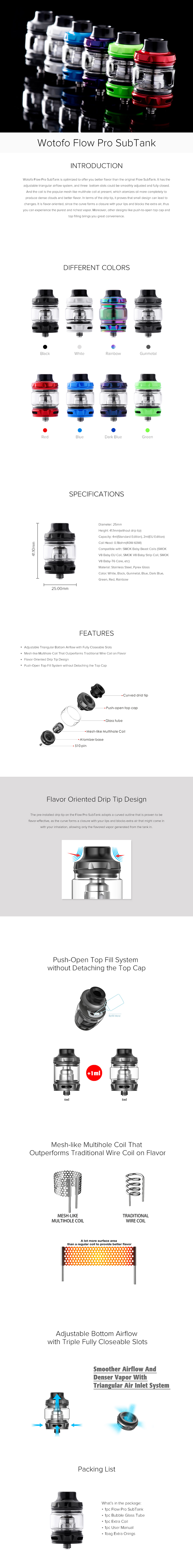 Wotofo Flow Pro SubTank Atomizer