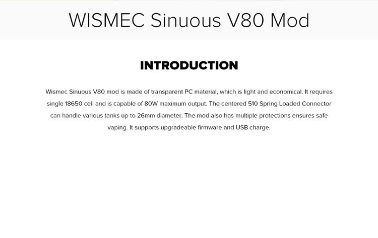 Wismec Sinuous V80 80W VW Box Mo