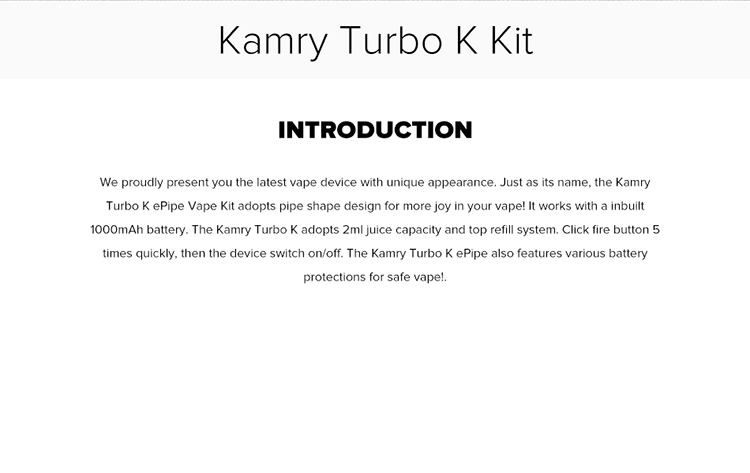 Kamry Turbo K Pipe Vape Kit 1000mAh