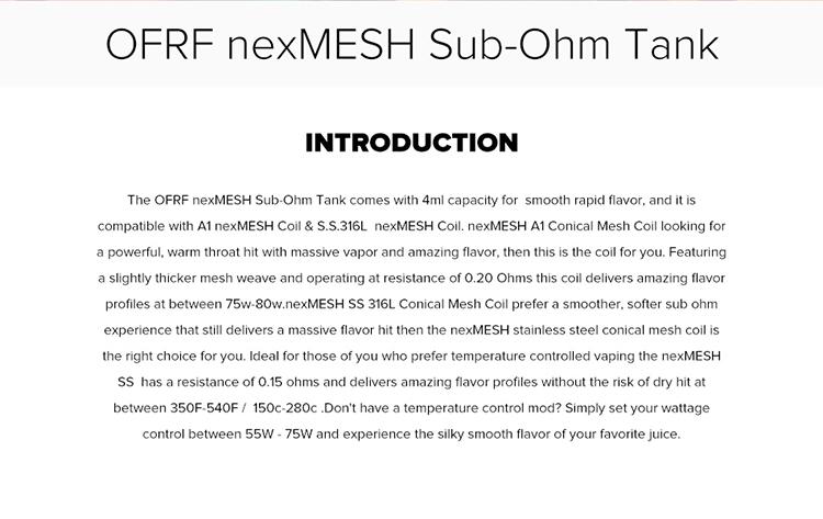 OFRF NexMESH Sub-Ohm Tank